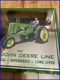 Original 40s John Deere Advertising Mirror Sign Tractor Sales Service Tyndall SD