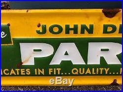 Original Embossed 1960's John Deere Parts Metal Sign