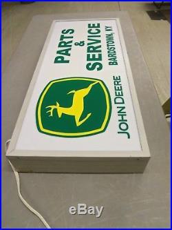 Original John Deer Parts & Service Lighted Dealership Sign