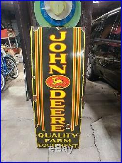 Original John Deere 4 legend Porcelain Sign Tractors Gas Oil Farm Barn