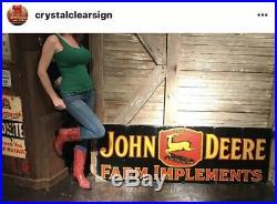 Original John Deere Farm Implements Equipment Tractors Porcelain Sign 72