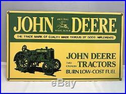 Original John Deere Porcelain Dealers Sign Farm Implements Tractors Moline IL