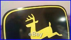 Original LARGE JOHN DEERE 2 LEG DOUBLE SIDED metal dealer sales service sign