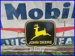 Original NOS Construction 1970's John Deere Dealership sign gas oil tractor Farm