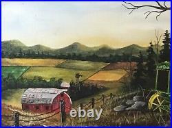 Original Signed By Artist Thomas Britt. Acrylic On Canvas. John Deere Tractor