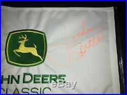 PERFECT FULL SIGNATURE Jordan Spieth Signed John Deere Pin Flag MASTERS RARE
