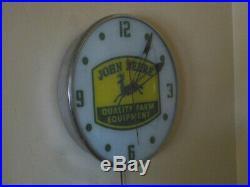 Pam clock John Deere Farm Equipment Lighted Bubble Glass Advertising Sign 1959