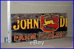 RARE 1920's JOHN DEERE FARM IMPLEMENTS DEALER PORCELAIN SIGN TRACTOR FARM BARN