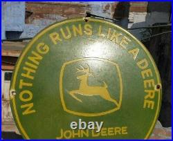 RARE 1920's Old Vintage John Deere Tractor Machinery Porcelain Enamel Sign Board