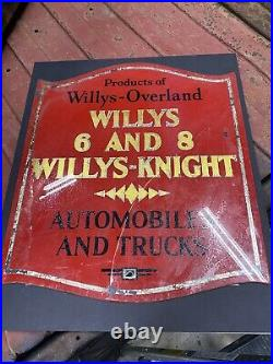 RARE 1 Of 1 Willys Overland Willys-Knight Glass Door Sign 1920s Buffalo NY