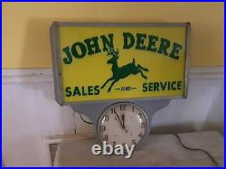 RARE Antique John Deere Sales & Service Bubble Glass Lighted Clock Sign. WORKS