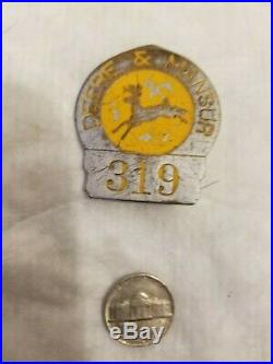 RARE John Deere Mansur Employee Badge Sign Farm Original Vintage Old Tractor Oil