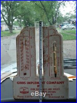 RARE John Deere Rain Gauge Thermometer Barometer Sign Shreveport LA Farm Tractor