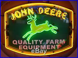 RARE New JOHN DEERE QUALITY FARM EQUIPMENT Tractor Dealer REAL NEON SIGN LIGHT