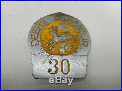 RARE Vintage 1920s JD JOHN DEERE & MANSUR Farm Employee Badge Advertising Pin