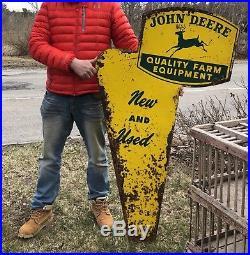 RARE Vintage JOHN DEERE Farm Equipment Dealer Agriculture 2 Sided Die Cut Sign