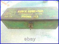 RARE Vintage JOHN DEERE JD FARM Machinery Advertising SPRINGFIELD MN TOOL BOX