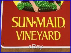 RARE Vtg 1980's Sun-Maid Vineyard Sign 24x18 Raisins Commercial Farm Ag XLNT