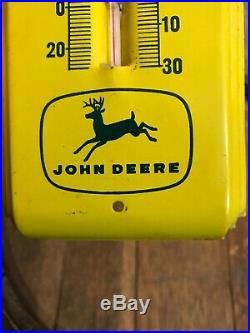 Rare 4 Leg John Deere Thermometer Sign Advertising Macom Illinois Implement