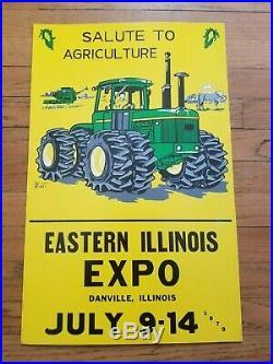 Rare John Deere 4WD Combine Danville IL Ag Expo Easel Sign 1979 Original Vintage
