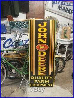 Rare Vertical John Deere Farm Equipment Tractors 4 lagged Porcelain Sign Gas Oil