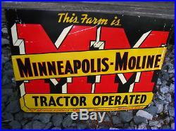 Rare Vintage Original Metal Minneapolis Moline Tractor Operated Farm Sign