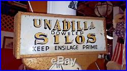 UNADILLA Doweled SILOS Keep Ensilage Prime New York 1930's Clock & Sign RARE NR