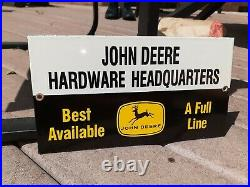 VINTAGE 1960s John Deere Sign Porcelean Original Dealer Headquarters Full Line