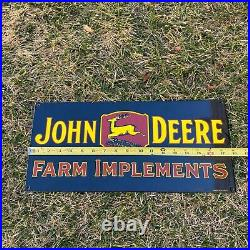 VINTAGE JOHN DEERE FARM IMPLEMENTS PORCELAIN METAL ENAMEL SHOP FARM SIGN 18x8