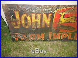 VINTAGE JOHN DEERE JD Porcelain 3 Legged Deer Farm Machinery Advertising SIGN