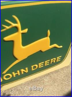 VINTAGE RARE John Deere Lighted Dealership Sign TRACTORS With Metal Pole