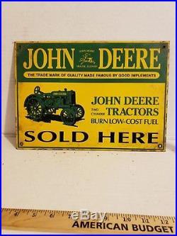 VTG John Deere Sold Here Porcelain Sign