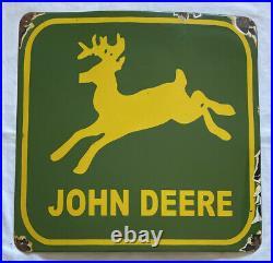 Vintage 12# John Deere 24 Deer Porcelain Sign Car Truck Oil Gas