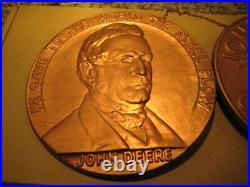 Vintage 1837 1937 John Deere Plow Centennial Copper colored metal Coin Sign Rare