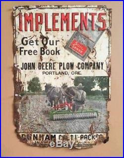 Vintage 1910's John Deere Plow Company Portland Oregon Tin Litho Sign Rare