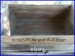 Vintage 1920s Caterpillar Tractor Advertising Wood Shipping Crate Antique Old