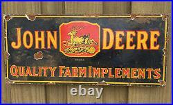 Vintage 1934 John Deere Tractor Porcelain Metal Farm Ranch Gas Oil Barn Sign