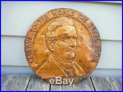 Vintage 1937 John Deere He Gave The World Steel Plow Sign! Copper Penny Rare