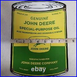 Vintage 1950's John Deere Oil Can Farm Equipment Porcelain Enamel Sign Moline