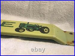 Vintage 1950s John Deere Porcelain Enamel door push 32 tractor