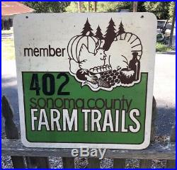 Vintage 1950s Sonoma Co. Farm Trails 2-Sided Painted Wooden 24 California Sign