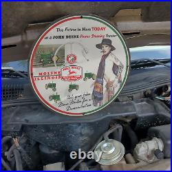 Vintage 1955 John Deere Power Steering Tractor Porcelain Gas & Oil Pump Sign