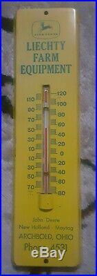 Vintage 1960's John Deere 4 legs deer advertising New Holland thermometer