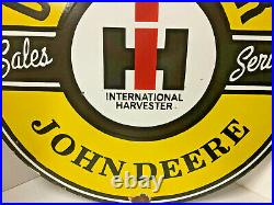 Vintage 30 Porcelain Enamel John Deere International Harvester Caterpillar Sign