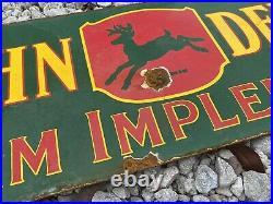 Vintage 53' John Deere Porcelain Sign Gas Oil Farm Implements Tractor Deer Ranch