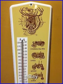 Vintage 70's John Deere Farm Machinery Metal Litho Thermometer