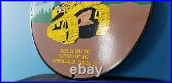 Vintage Caterpillar John Deere Porcelain Tractor Dealership Service Sign