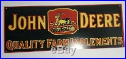 Vintage Collectors John Deere Quality Farm implements Sign 25 1/2 X 9 1/2