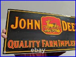 Vintage Dated 1934 John Deere Tractor Gasoline Motor Oil Porcelain Gas Farm Sign