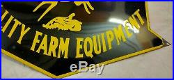 Vintage Die Cut John Deere Quality Farm Equipment Porcelain Enamel Sign